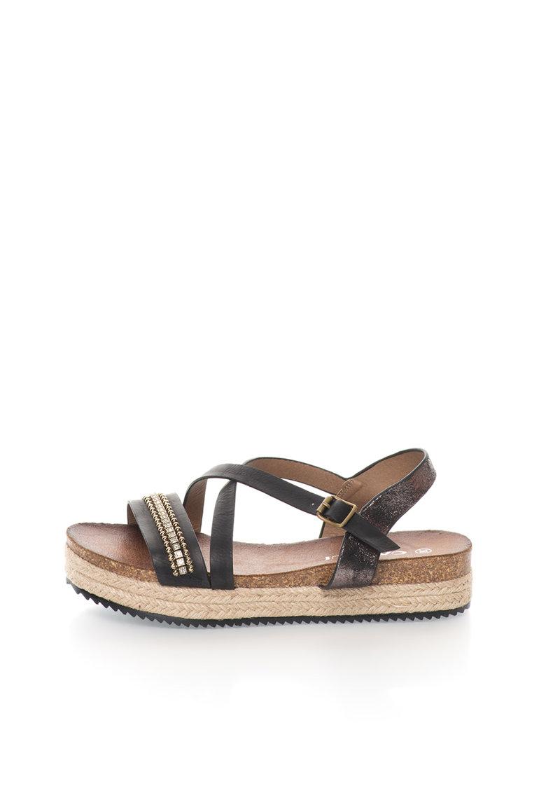 Sandale wedge negre din material lucios si mat Bacardi