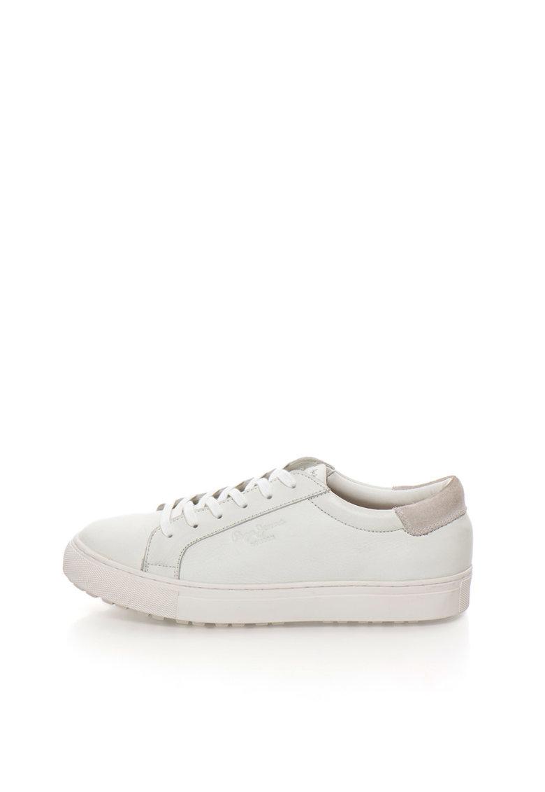 Pepe Jeans London Pantofi sport albi de piele si piele intoarsa Norwich