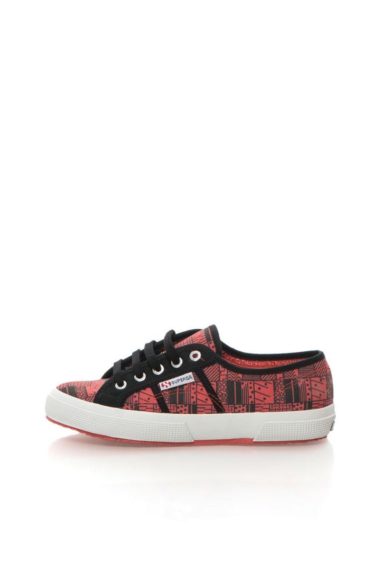 Superga Pantofi sport rosu si negru cu imprimeu Fantasy Cotu