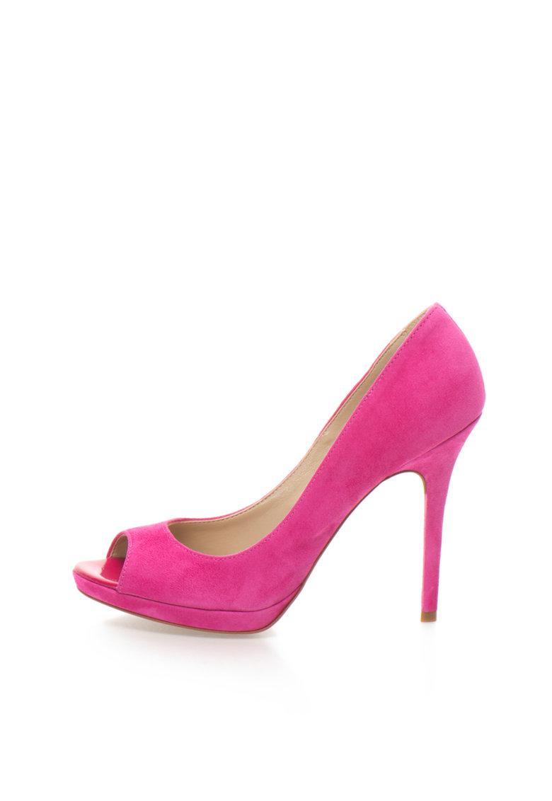 Zee Lane Collection Pantofi fucsia de piele intoarsa si cu varf decupat