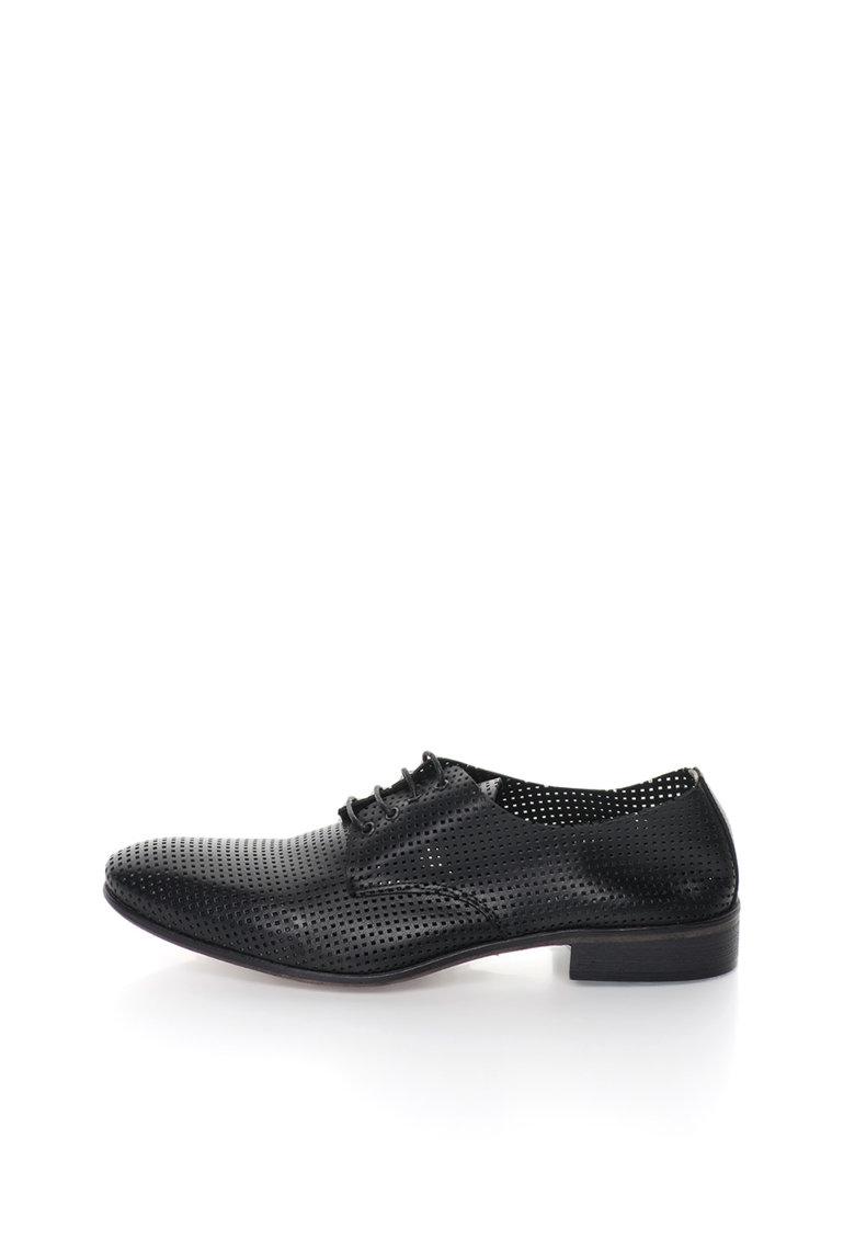 Zee Lane Pantofi derby negri de piele cu model perforat