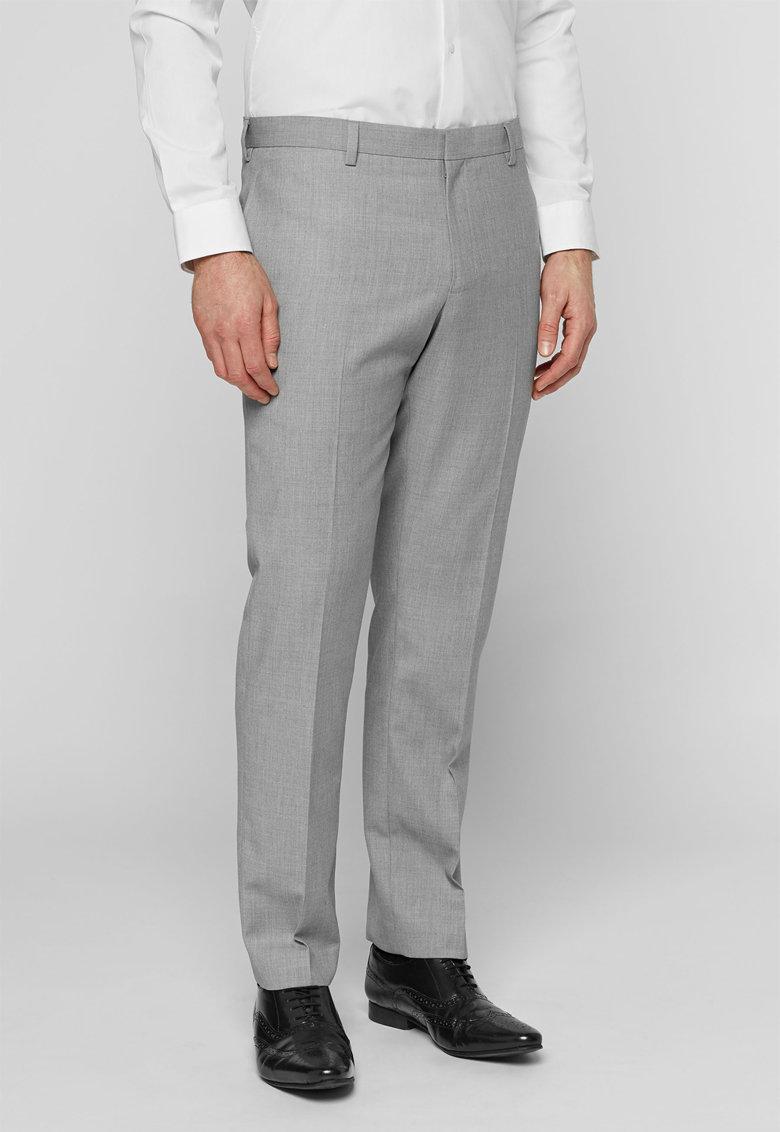 Pantaloni eleganti slim fit gri melange de la NEXT