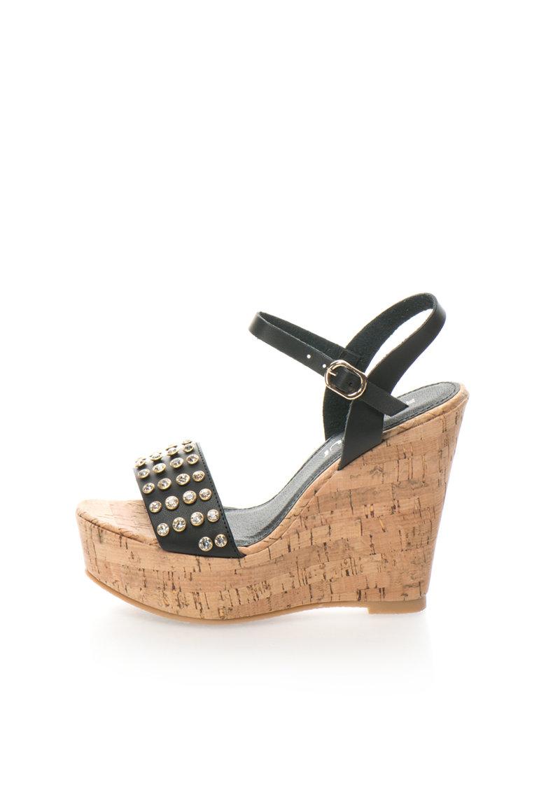 Sandale wedge negre Consuelo