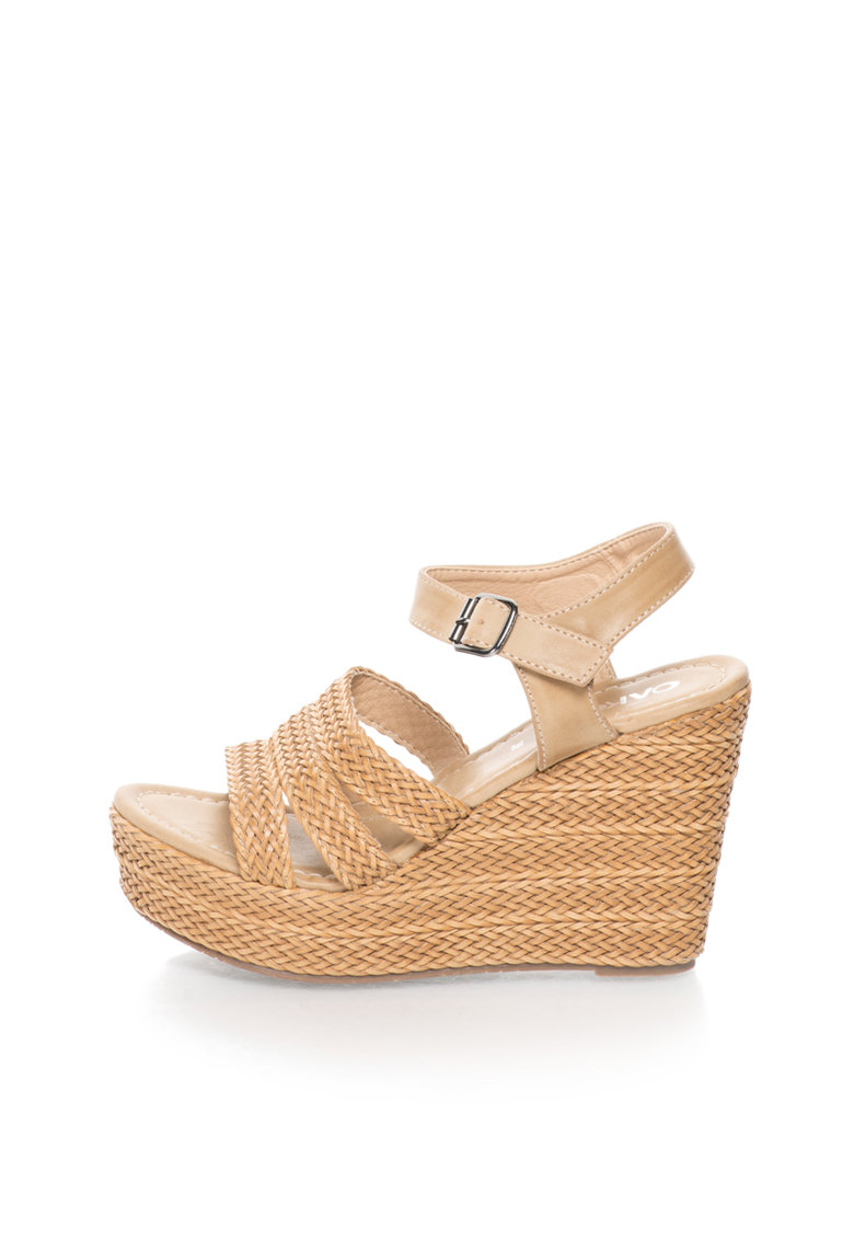 Sandale wedge maro camel cu design impletit