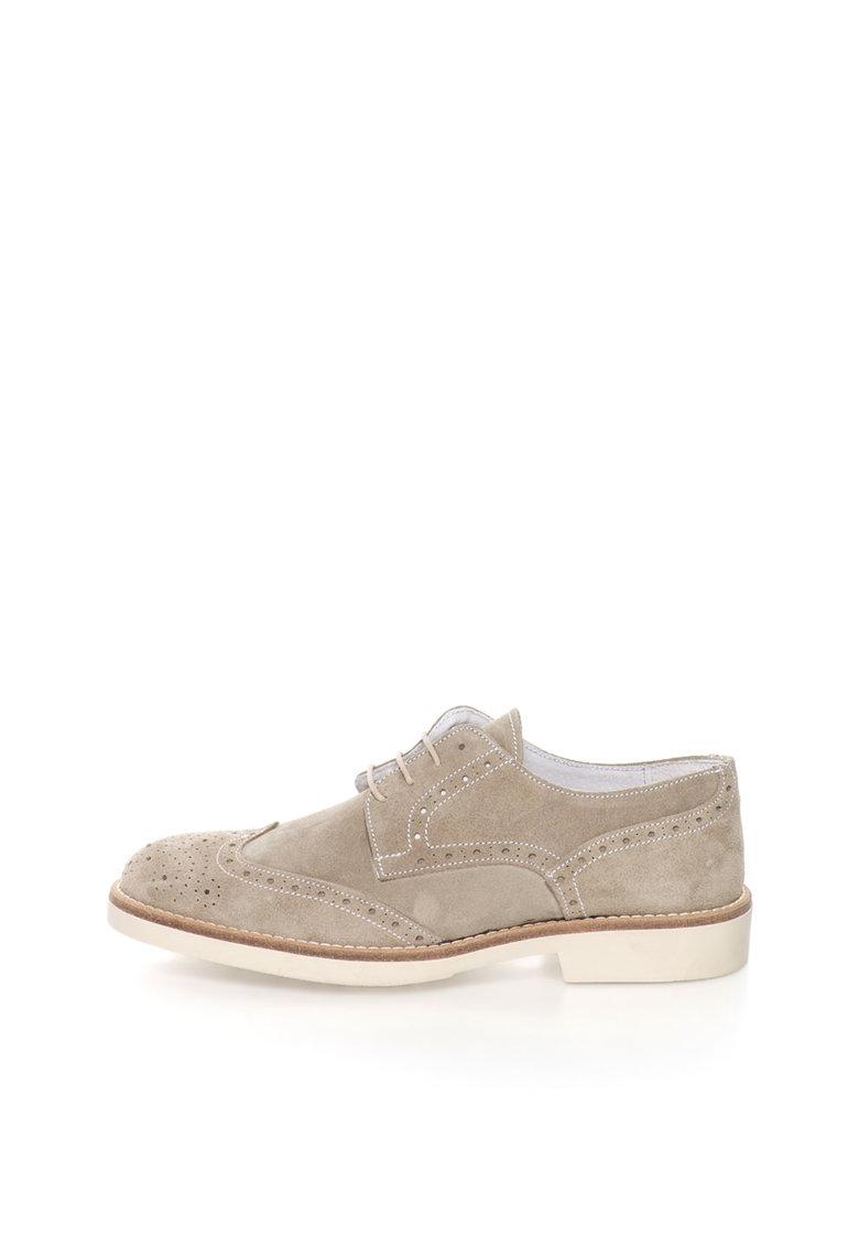 Zee Lane Pantofi brogue maro taupe de piele intoarsa