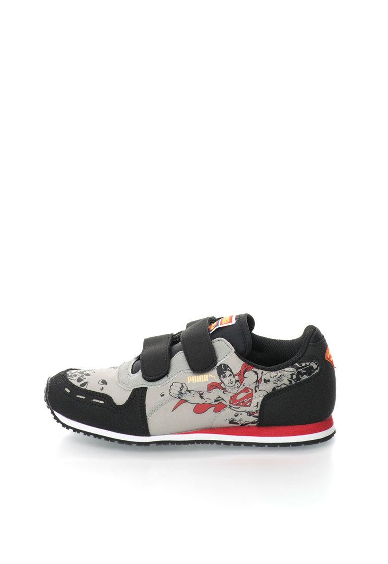 Puma Pantofi sport negru si gri perlat cu velcro Cabana Racer