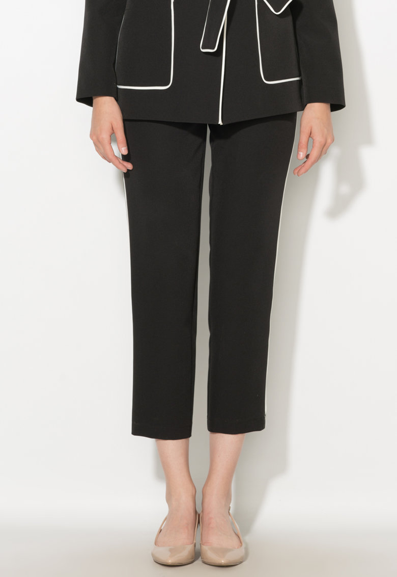 Pantaloni crop negri cu garnituri tubulare Zee Lane Collection