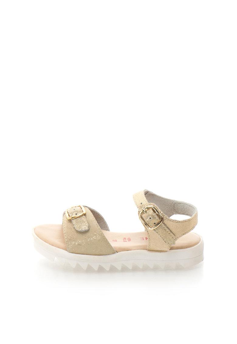 Sandale aurii de piele cu talpa aderenta Aurora de la Zee Lane – AURORA-4-PELLE-PLATINO-ZNE