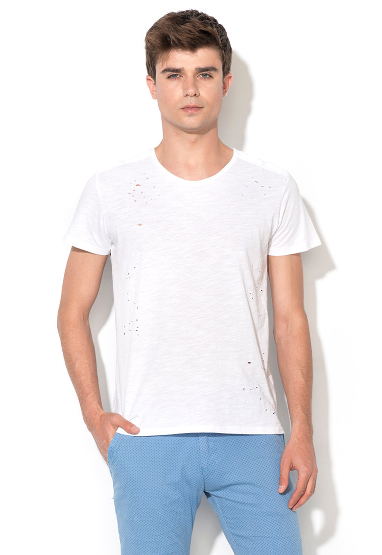 Tricou alb cu aspect deteriorat Zee Lane Denim