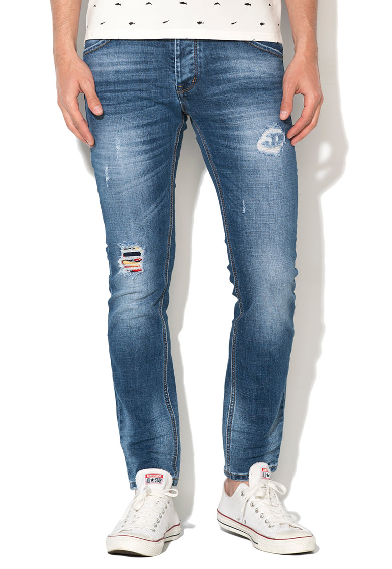 Zee Lane Denim Blugi albastri cu rupturi decorative discrete