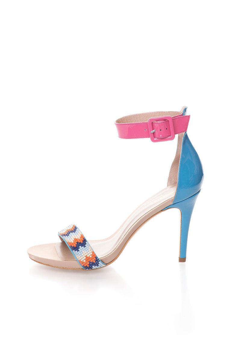 Roberto Botella Sandale albastru cu roz de piele lacuita si cu bareta pe glezna