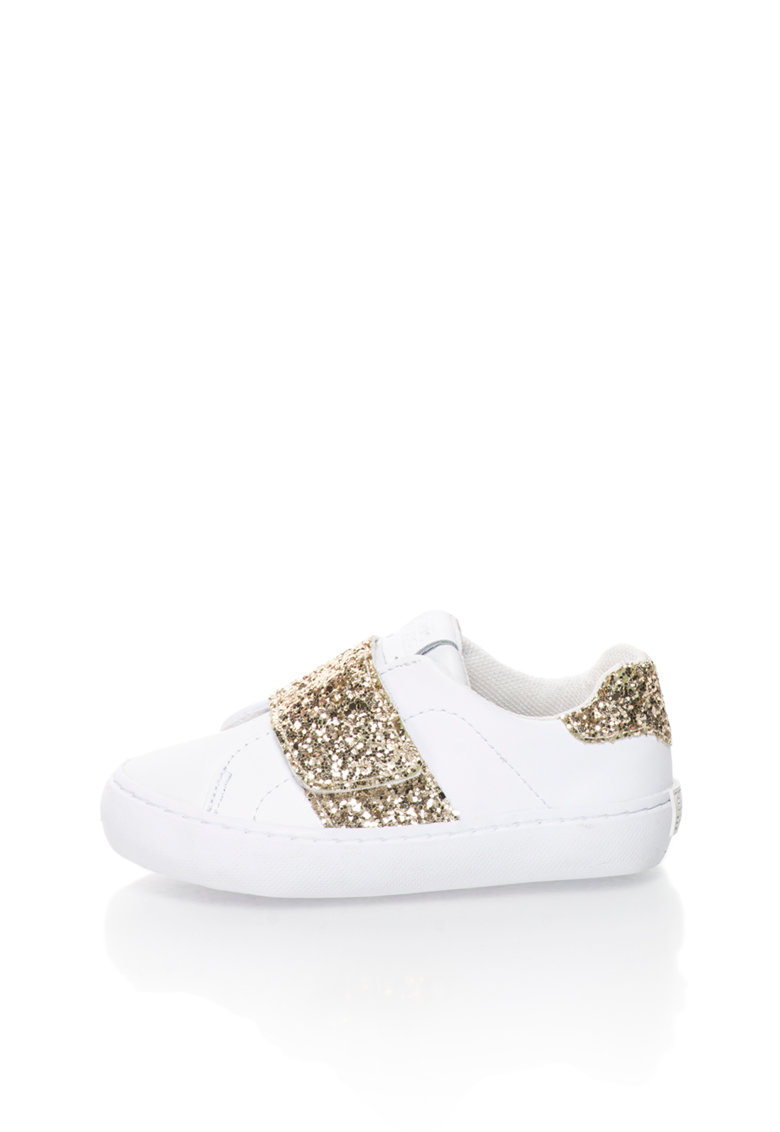 Gioseppo Pantofi sport alb si auriu stralucitori Bandelle
