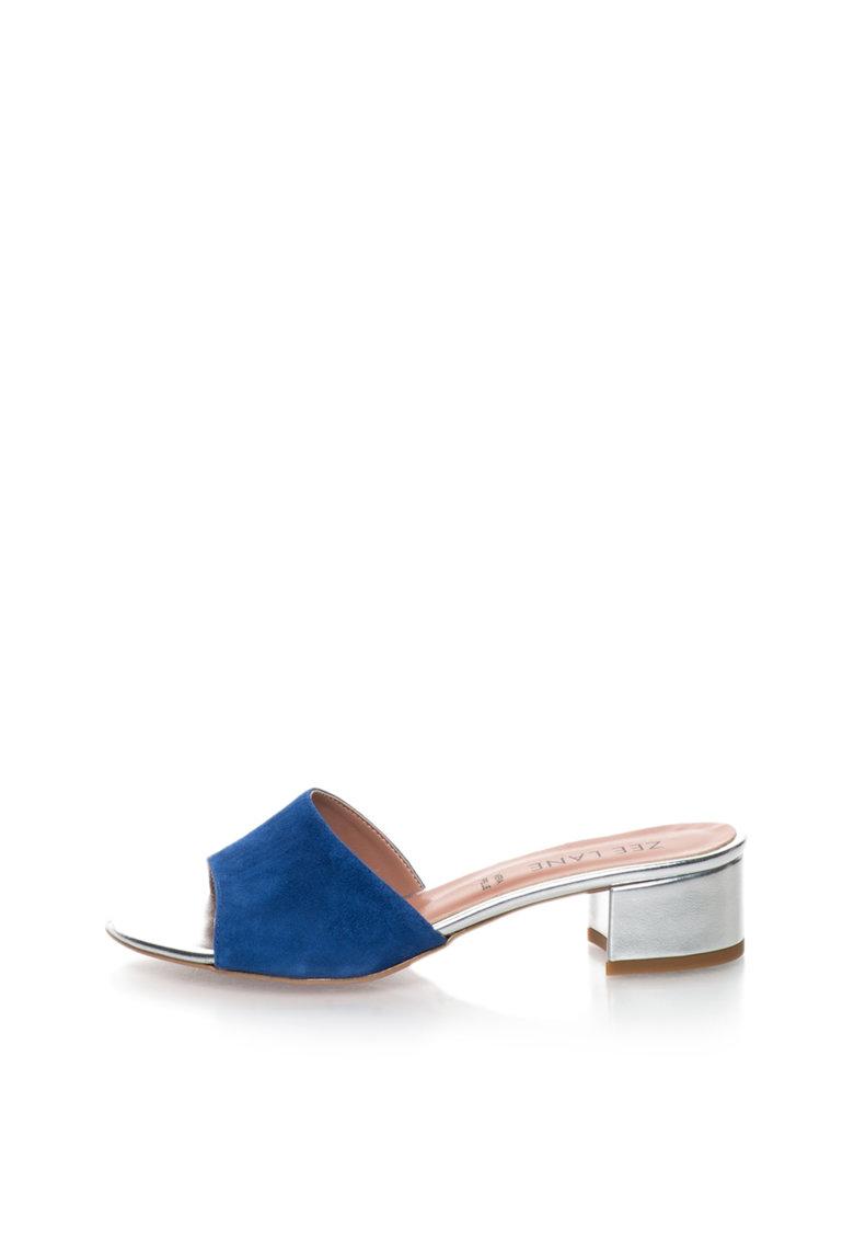 Zee Lane Sandale slip-on albastru cu argintiu de piele intoarsa Candy