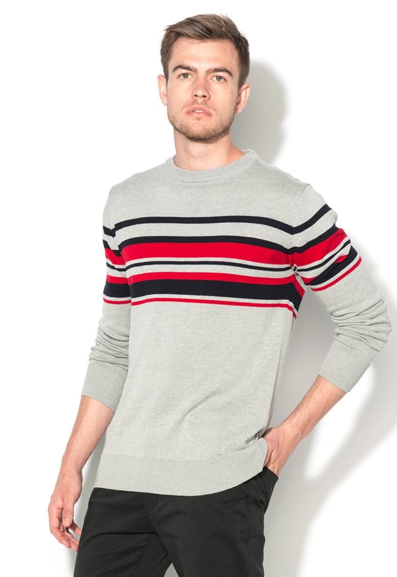 BRAVE SOUL Pulover gri tricotat fin cu dungi bleumarin si rosii