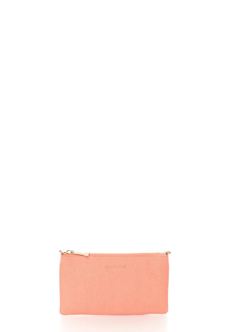 COCCINELLE Geanta plic roz de piele saffiano cu bareta