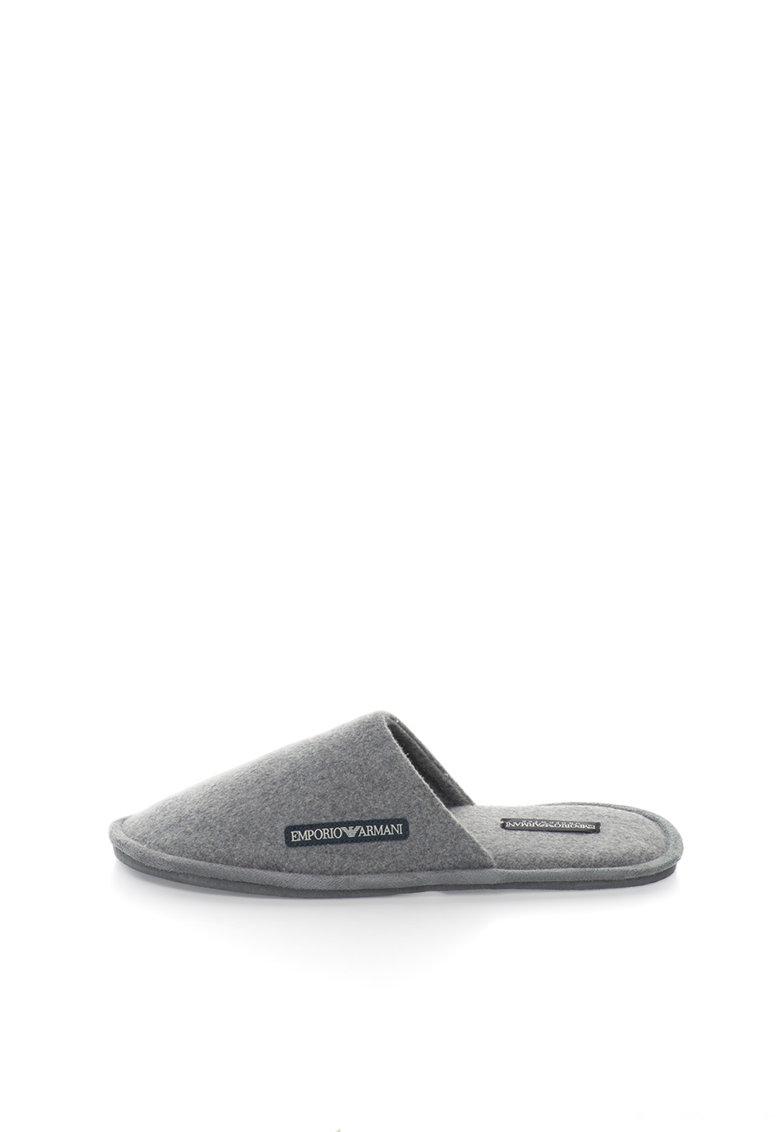 Papuci de casa gri melange din fetru