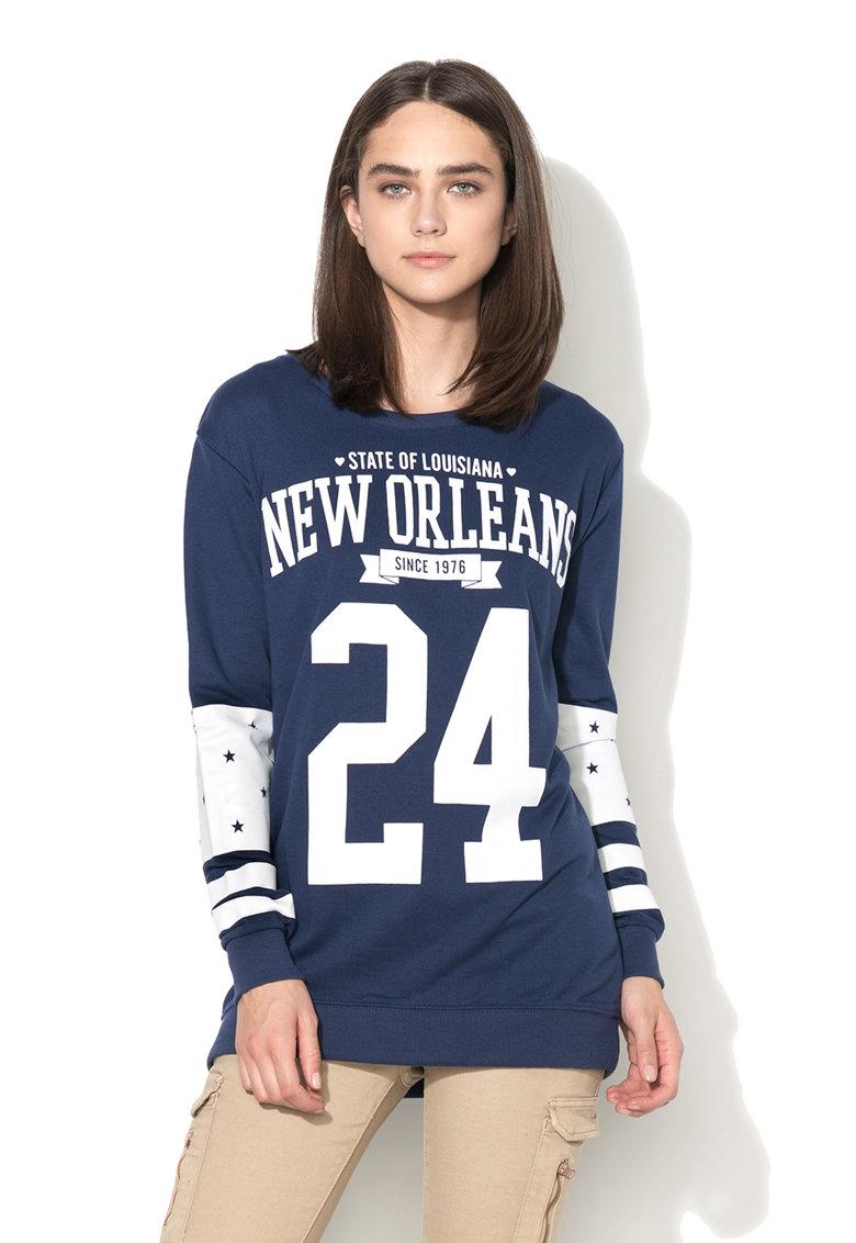 Alcott Bluza sport lunga albastru cu alb cu imprimeu
