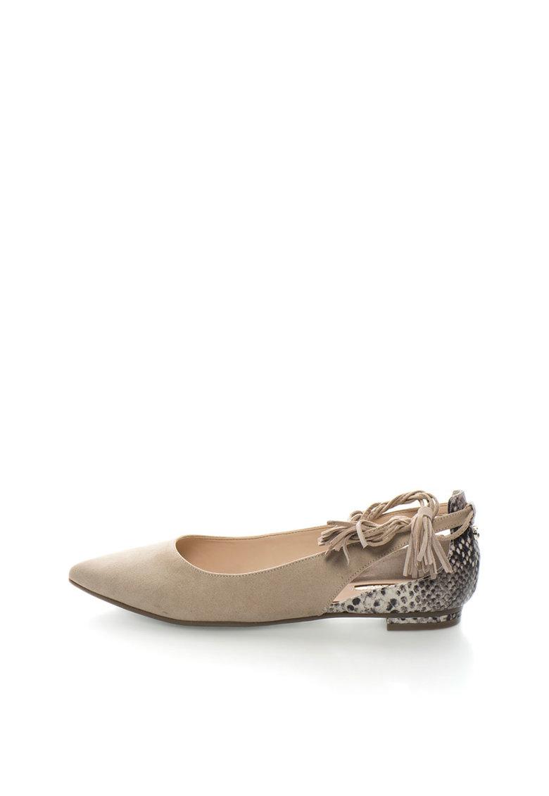 GUESS Pantofi bej infasurabili cu imprimeu sarpe
