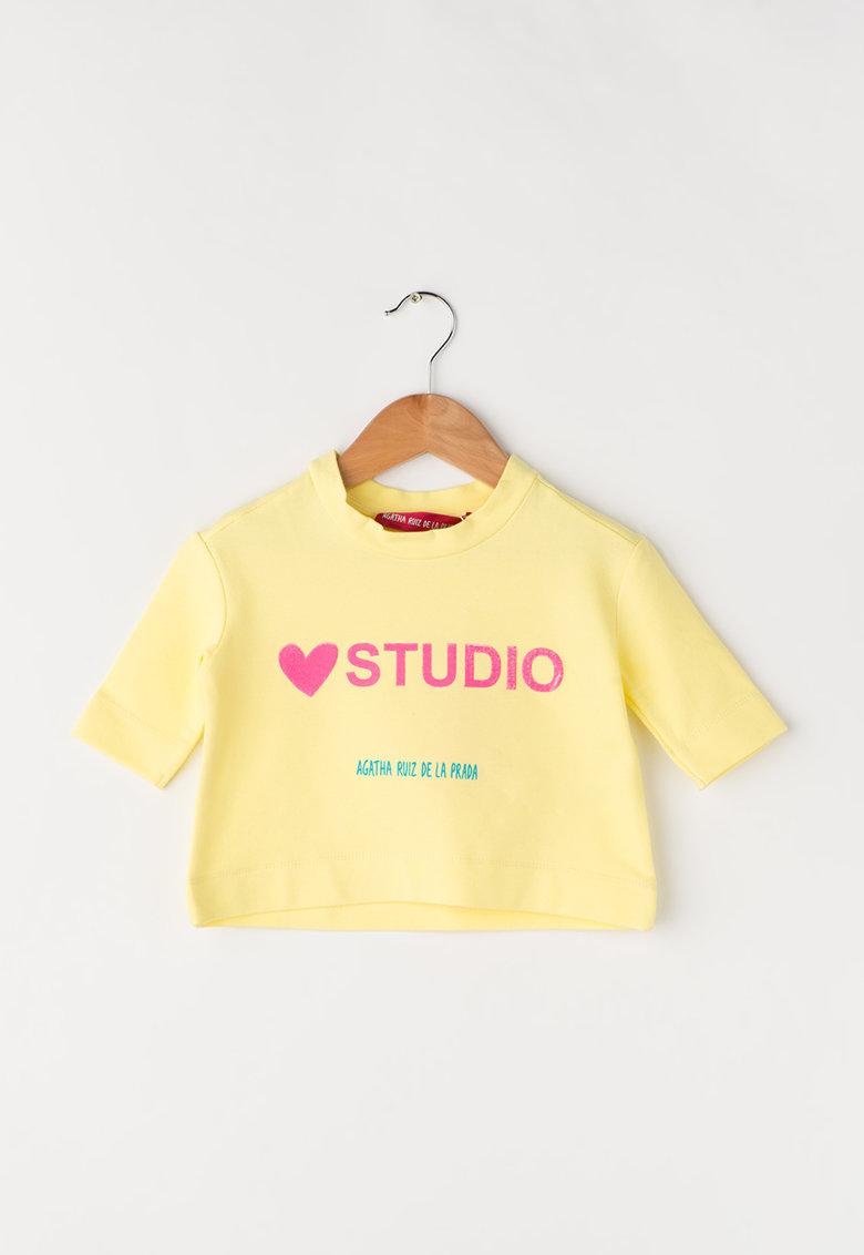 Bluza sport galbena cu imprimeu text