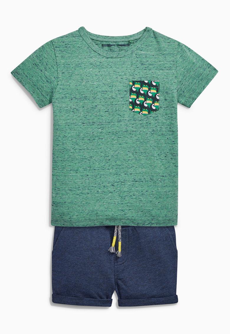 NEXT Set de tricou si pantaloni scurti verde cu bleumarin