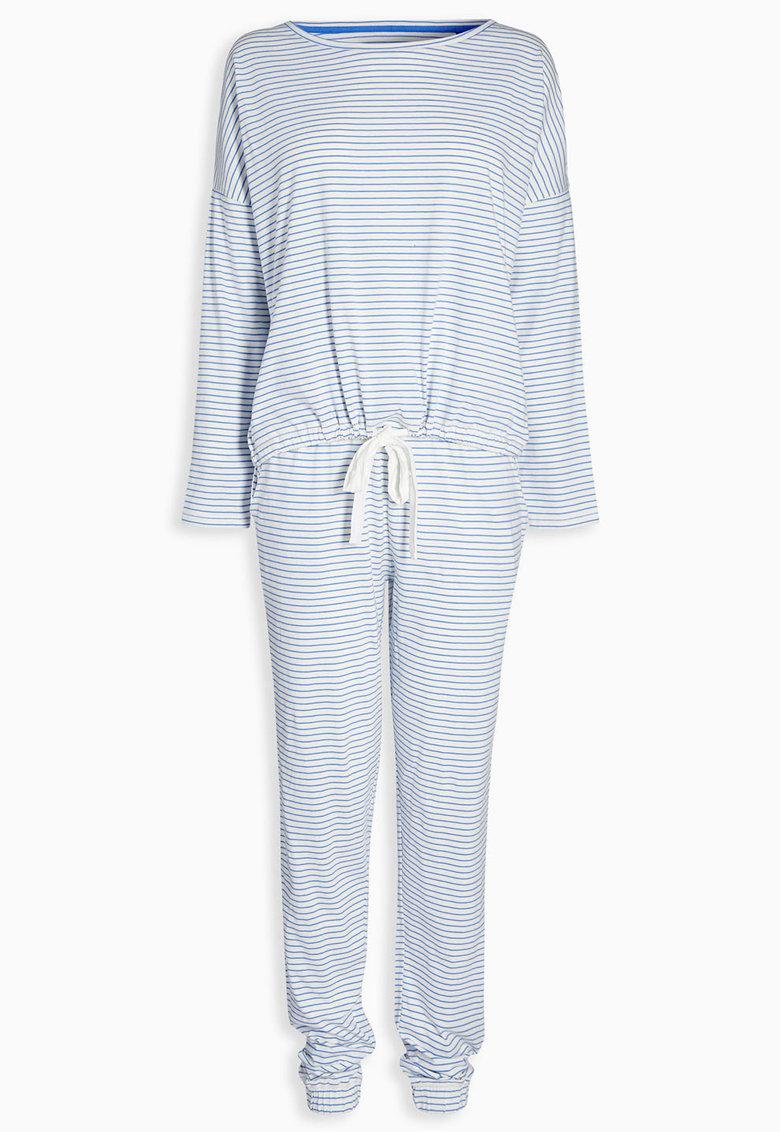 NEXT Pijama alb cu albastru in dungi