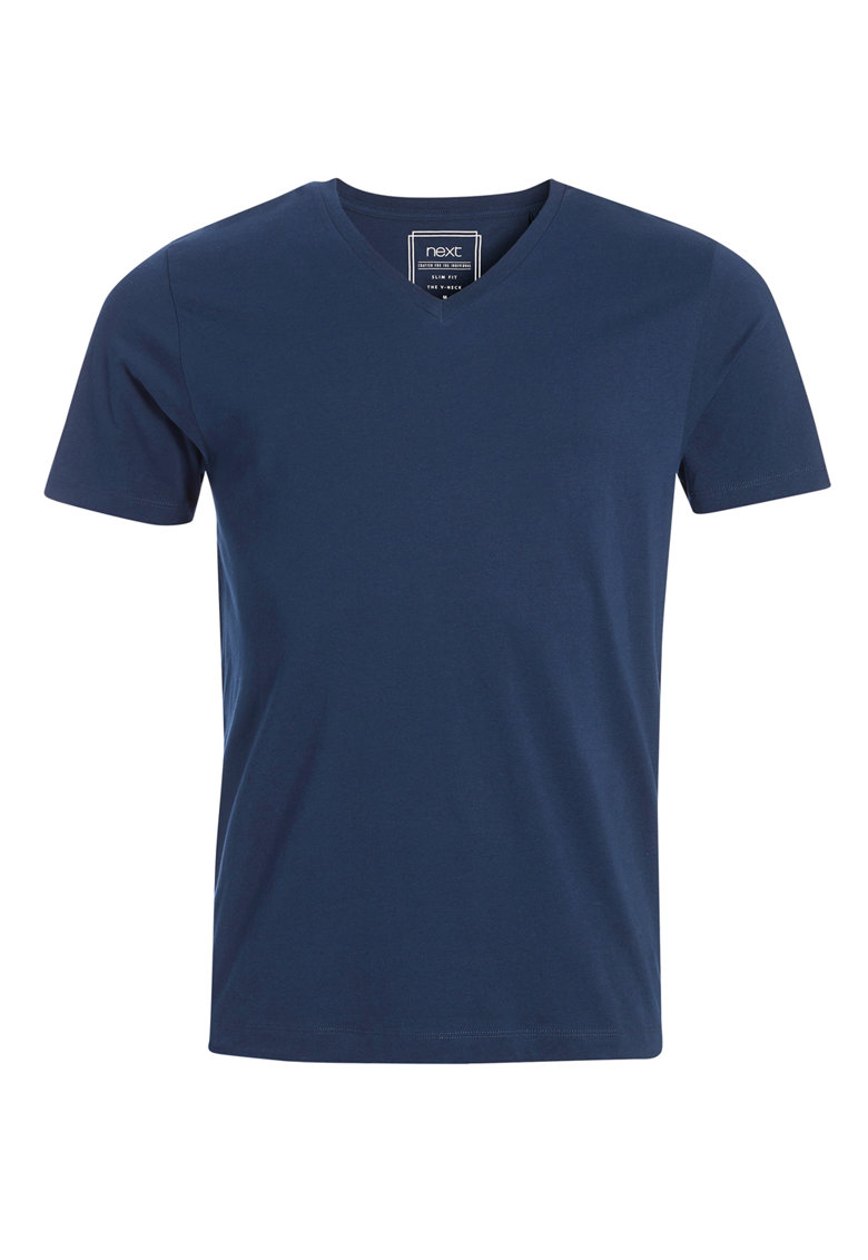 NEXT Tricou slim fit bleumarin cu decolteu in V