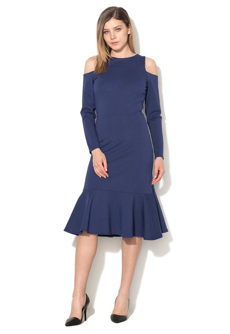 Rochie albastru inchis cu umeri decupati de la Closet LONDON