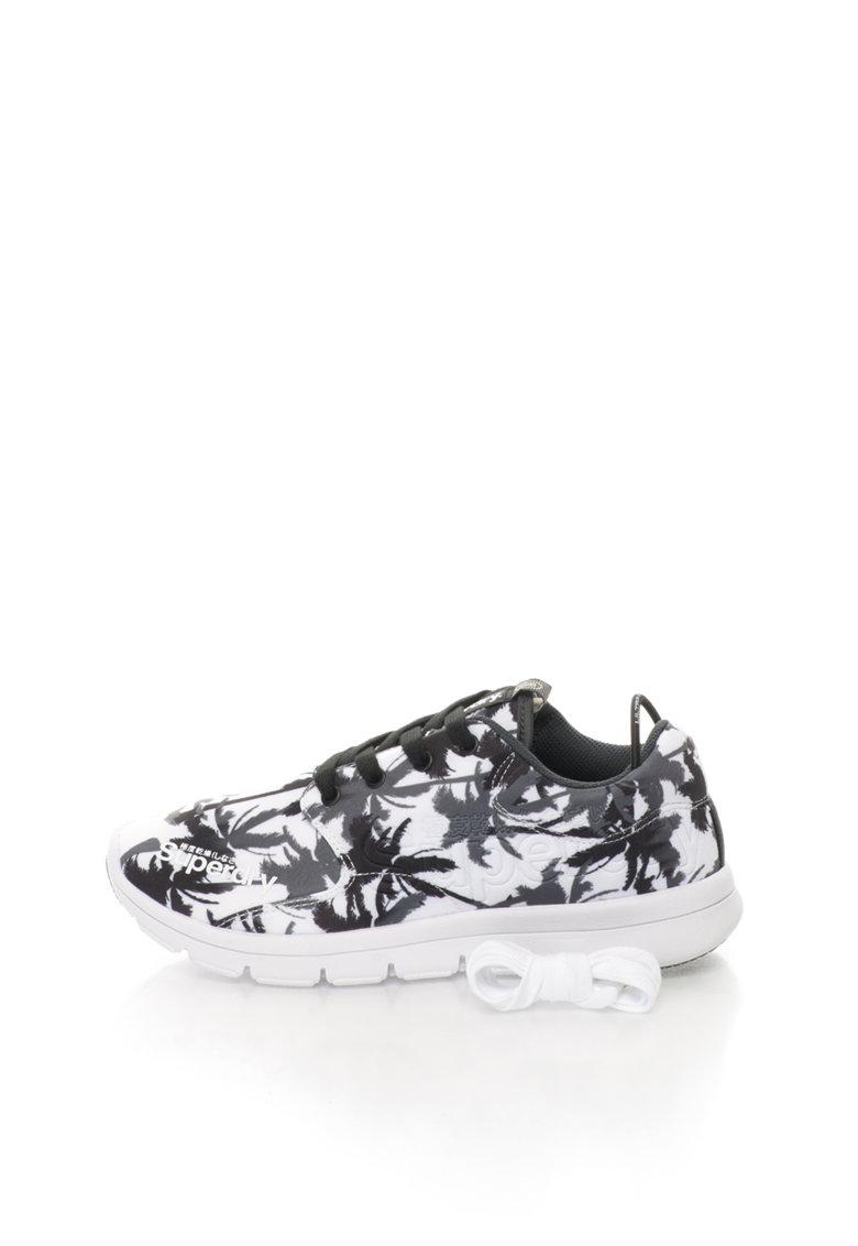 Superdry Pantofi sport alb cu gri si palmieri Scuba