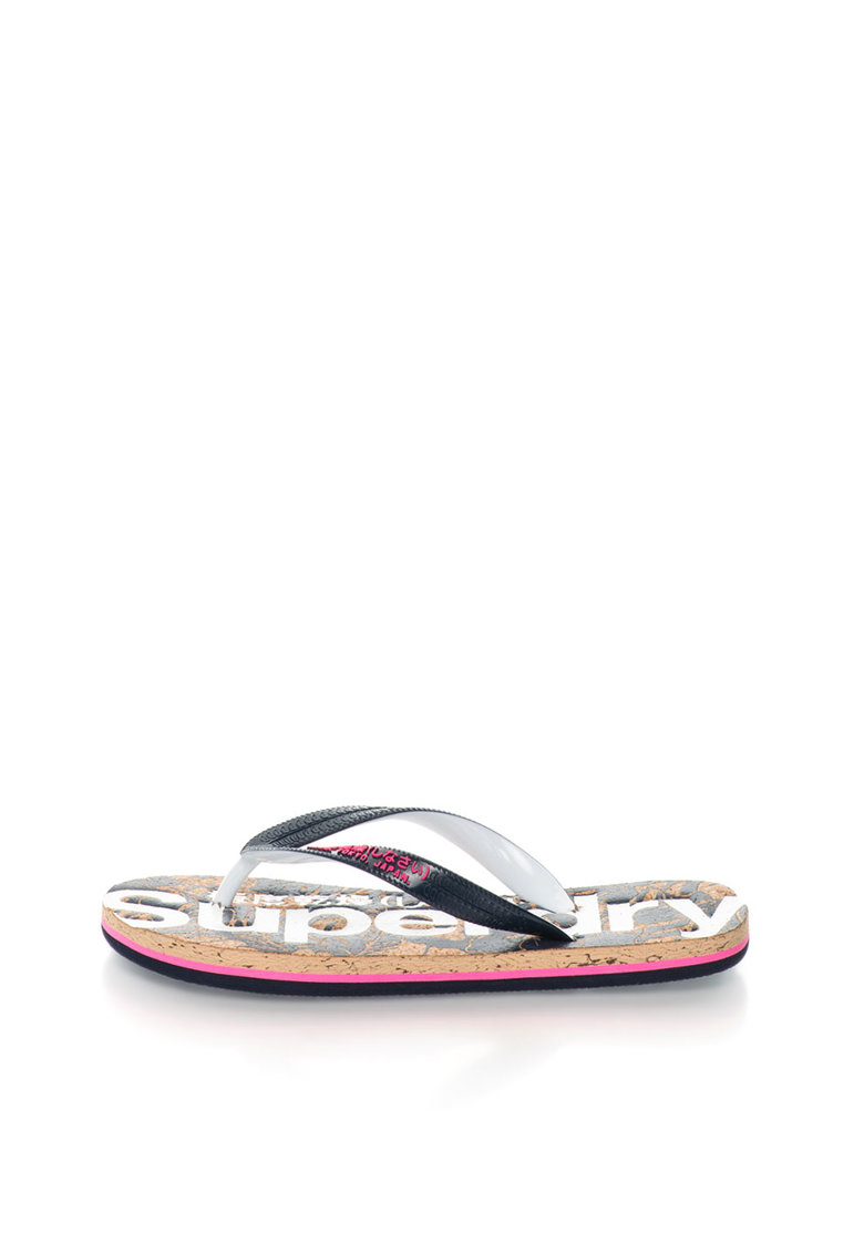 Papuci flip-flop negru cu alb de la Superdry