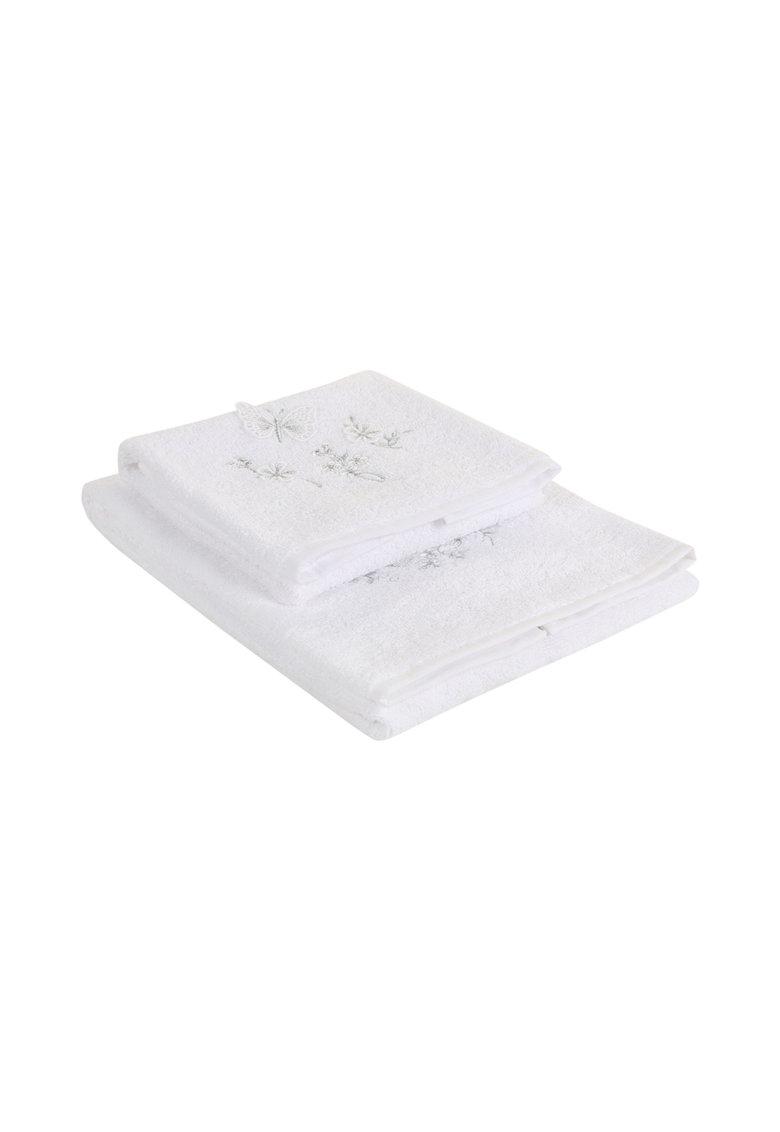 Set alb de prosoape Kelebek - 2 piese