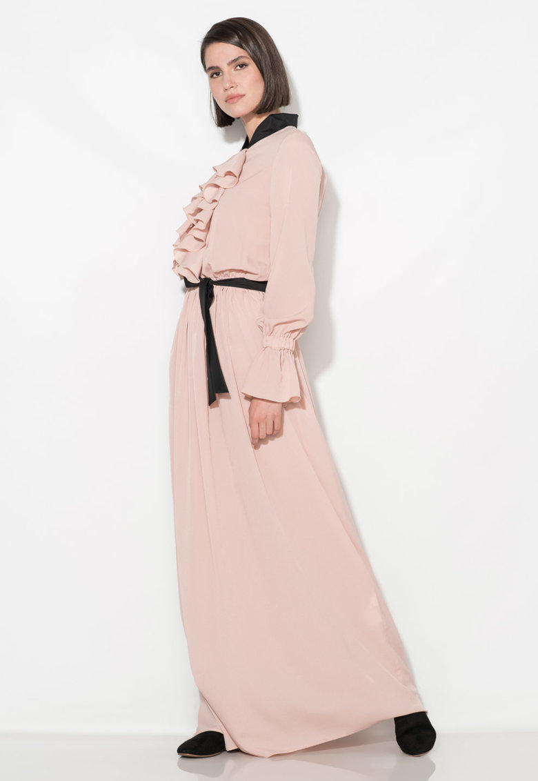 Rochie maxi roz prafuit cu garnituri negre