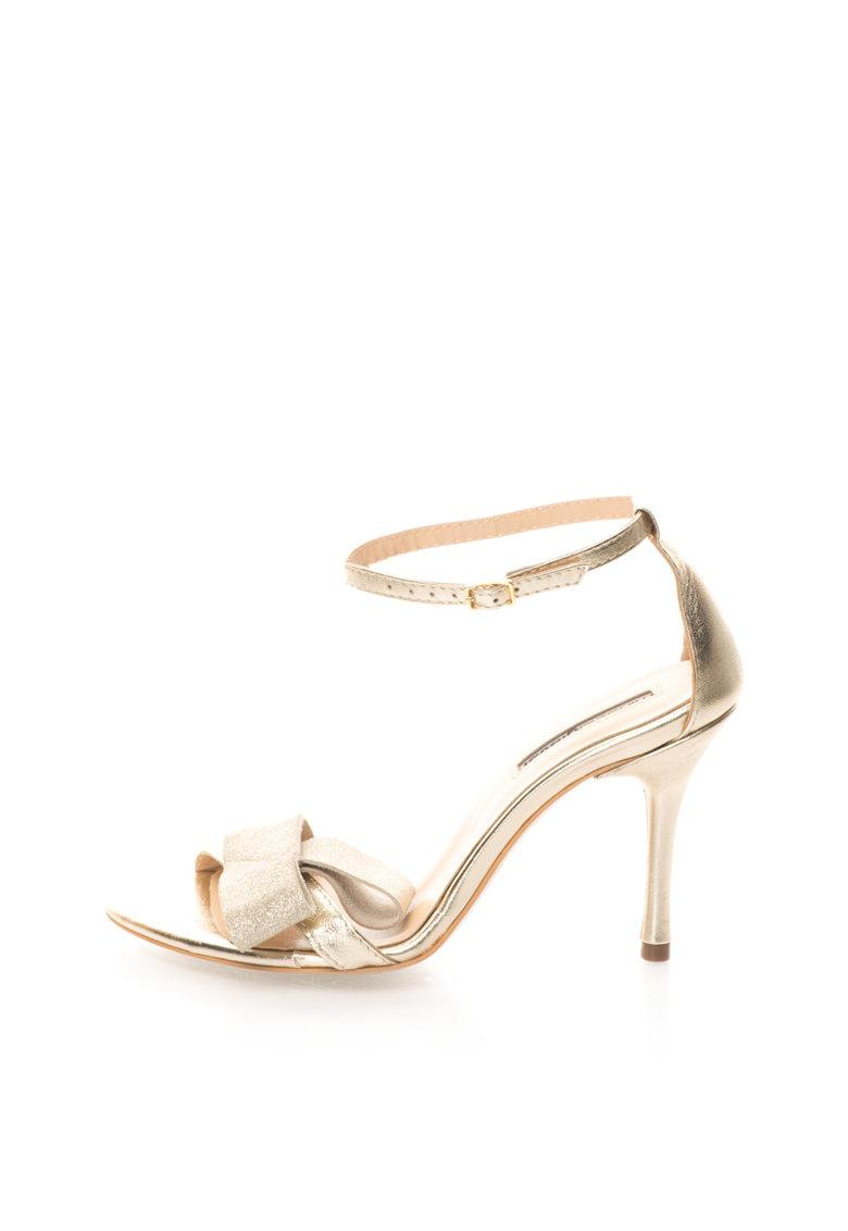 Sandale Aurii De Piele Intoarsa Si Piele Cu Bareta Pe Glezna