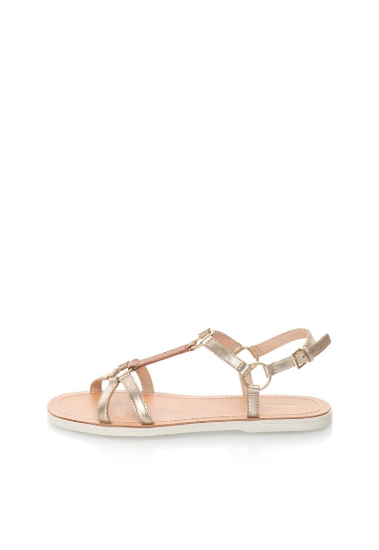 Sandale auriu antichizat cu maro de piele Scarlett de la Gant