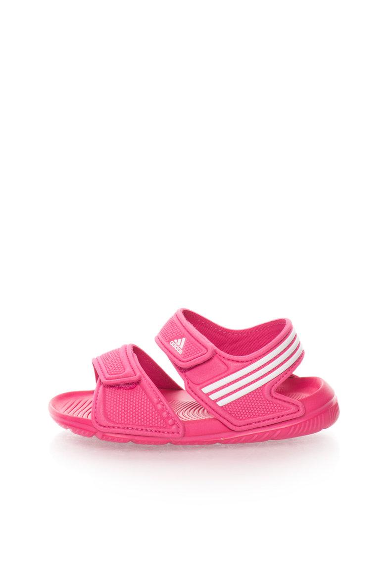 adidas Sandale fucsia cu dungi emblematice