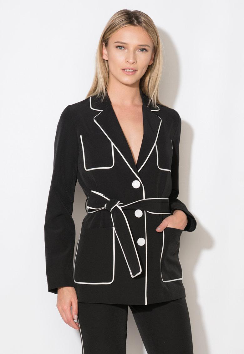 Sacou negru cu garnituri albe Zee Lane Collection