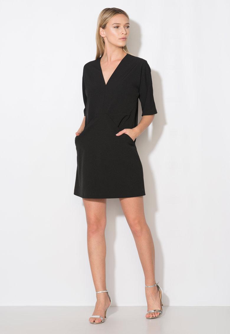 Zee Lane Collection Rochie neagra cu buzunare drapate