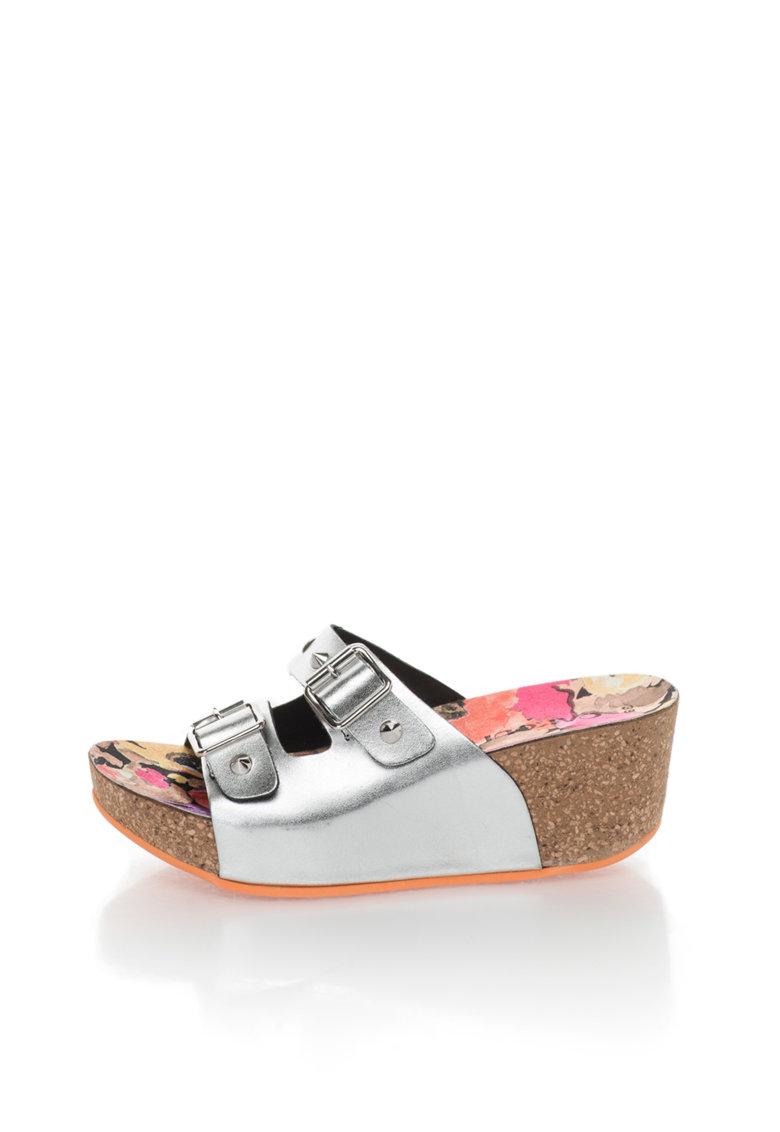 Papuci wedge argintii de piele