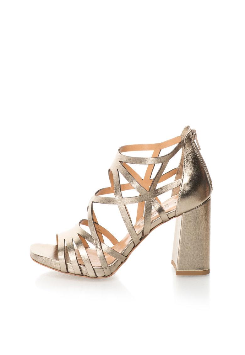 Zee Lane Collection Sandale auriu deschis de piele cu toc masiv