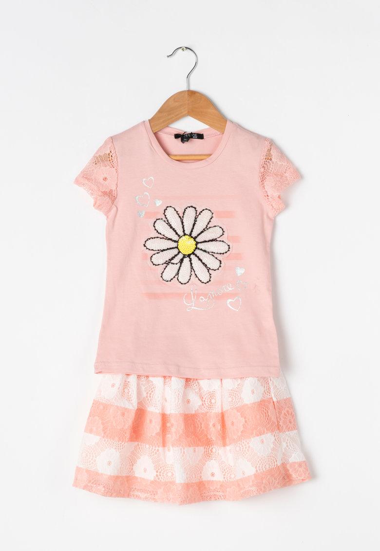 Zee Lane Kids Set roz pal cu alb de tricou si fusta