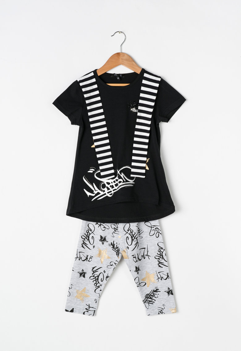 Zee Lane Kids Set negru cu gri de tricou si colanti