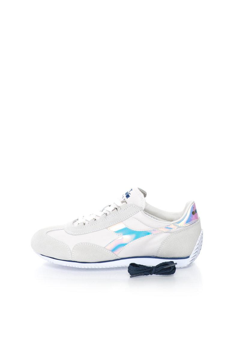 Diadora Heritage Pantofi sport alb prafuit cu gri perlat Equipe Hologram