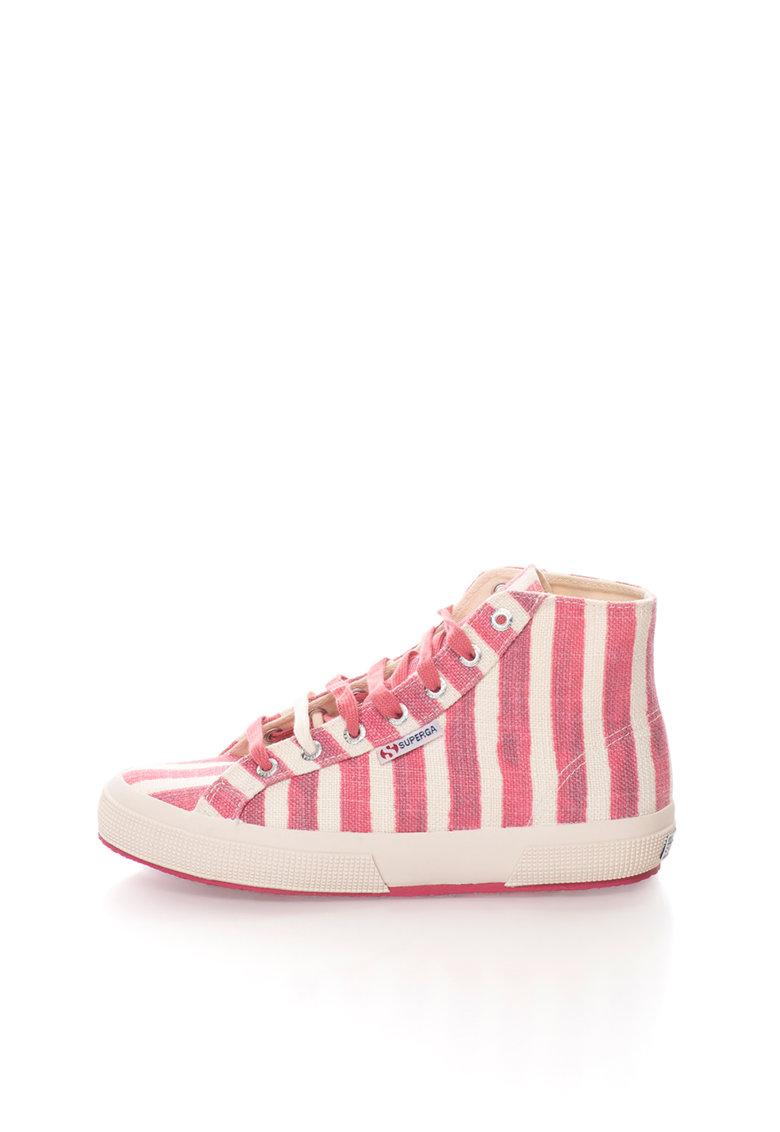 Pantofi sport inalti crem cu roz in dungi de la Superga