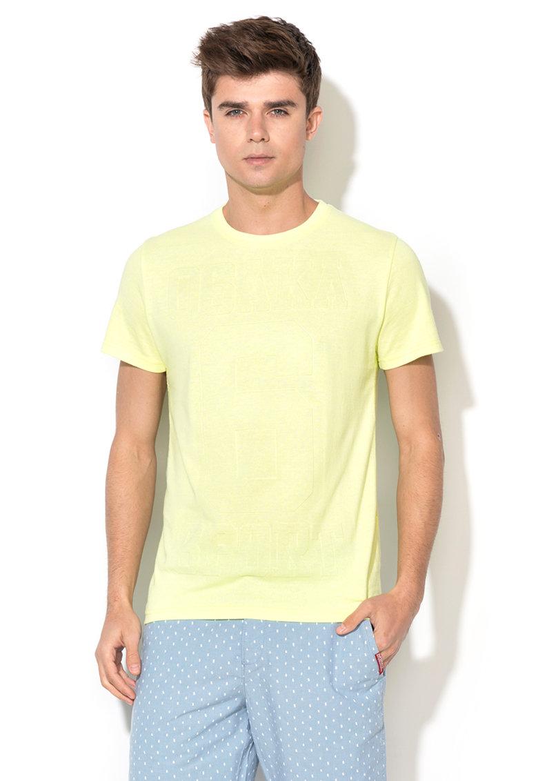 Tricou galben neon cu model in relief Osaka 6 de la Superdry