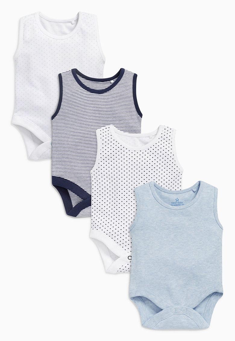NEXT Set de body-uri fara maneci in nuante de albastru – 4 piese