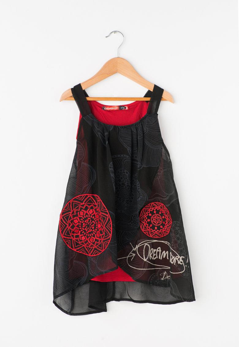 Rochie negru cu rosu si strat exterior transparent Chicago