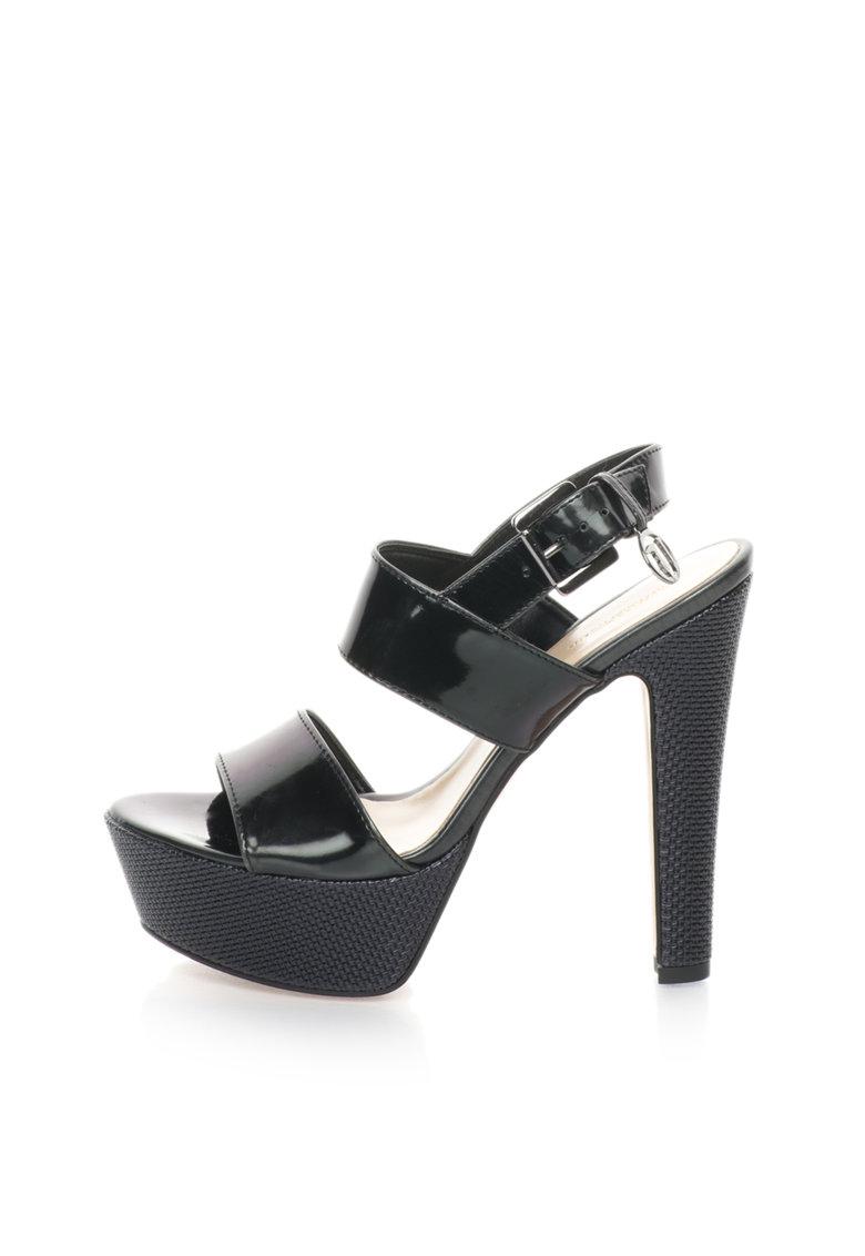 Trussardi Sandale negre cu barete lucioase