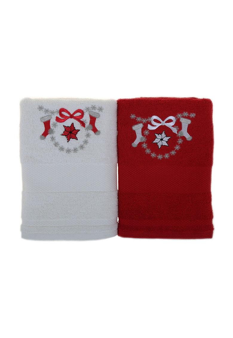 Leunelle Set de prosoape alb cu rosu si broderie tematica – 2 piese