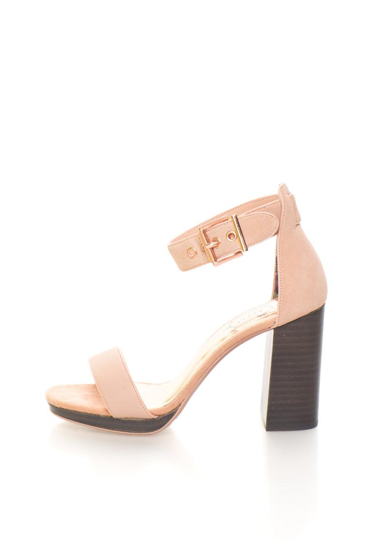 Sandale roz prafuit de piele si piele intoarsa Lorno