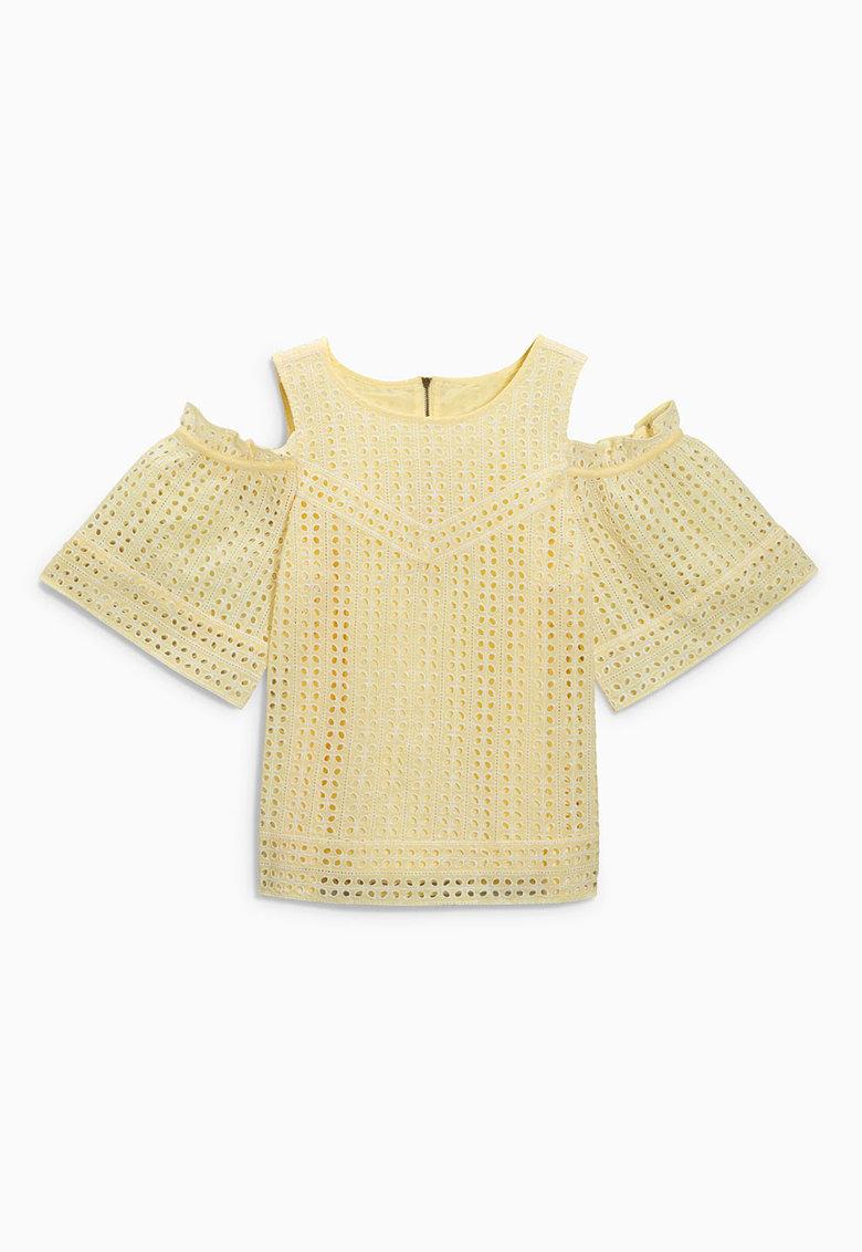 NEXT Bluza galbena cu perforatii si decupaje pe umeri