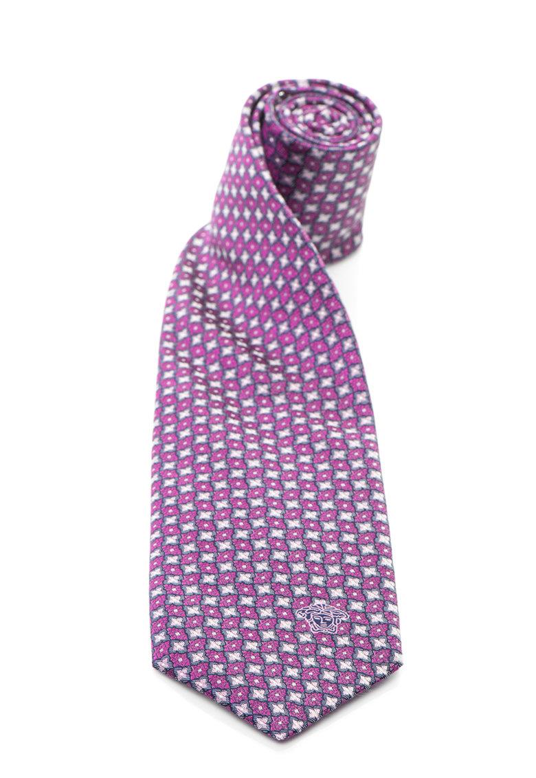 Versace Cravata de matase cu model geometric in nuante roz